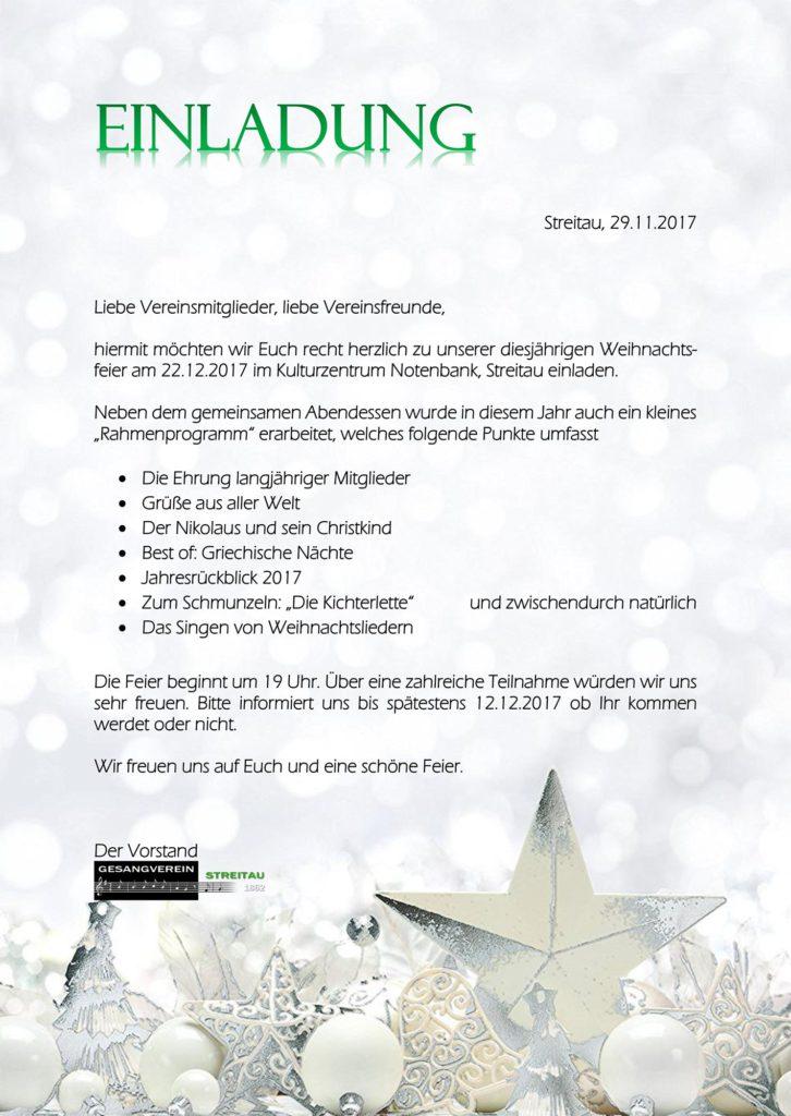 Weihnachtsfeier | Gesangverein Streitau 1862 e.V.